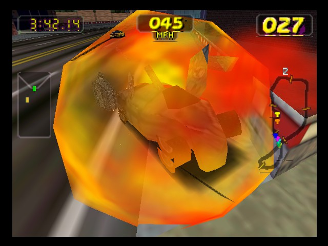 Rush 2 - Extreme Racing USA - I fell into a burning ring of fire! - User Screenshot